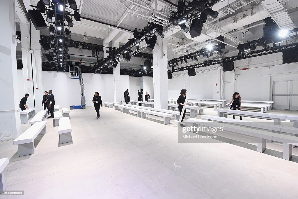 A runway is prepared at New York Fashion Week Fall 2016 at Clarkson Sq on February 12, 2016 in New York City.
