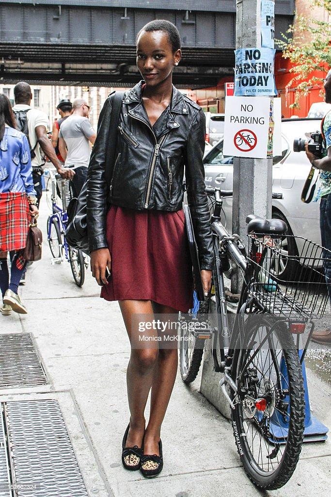 Runway model seen outside Milk Studios at Streets of Manhattan on September 6, 2012 in New York City.