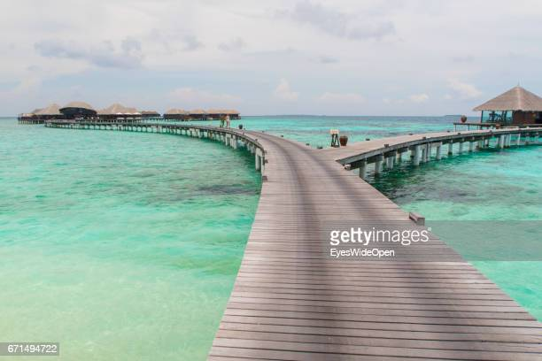 Runway to the Water Villas at Coco Bodu Hiti NorthMaleAtoll on February 26 2017 in Male Maldives