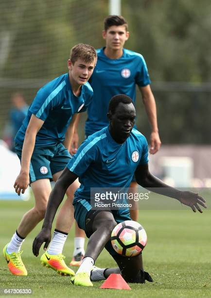 Ruon Tongyik passes the ball during a Melbourne City FC training session at City Football Academy on March 3 2017 in Melbourne Australia