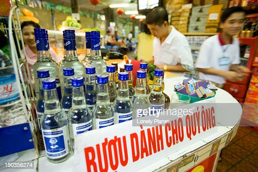 Ruou (rice wine) on bar at Lan Chin Bia Hoy, French Quarter. : Stock Photo