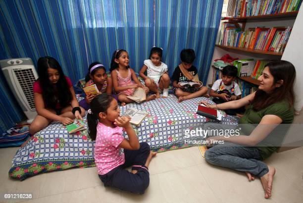 Rupal at a creative reading session at her book club for kids at Breach Candy on Saturday