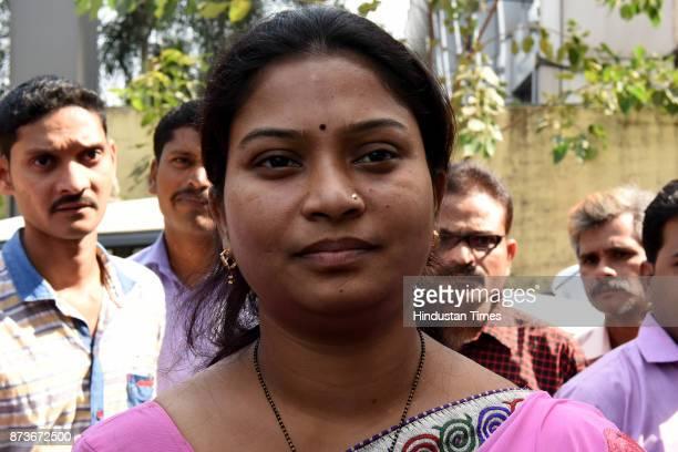 Rupali Angare one of the customers whose locker was broken by robbers at Bank of Baroda Juinagar Branch on November 13 2017 in Navi Mumbai India...