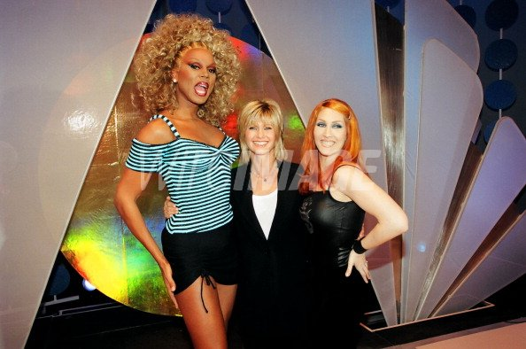 Rupaul and Olivia Newton John during On set with Rupaul and