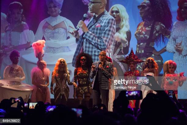 RuPaul makes a surprise appearance onstage with the cast of season 9 during 'RuPaul's Drag Race' Season 9 Premiere Party Meet The Queens Event at...