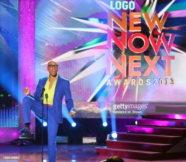 RuPaul speaks onstage during the 2013 NewNowNext Awards at The Fonda Theatre on April 13 2013 in Los Angeles California