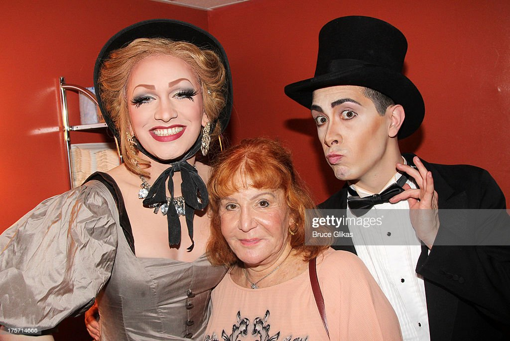 'RuPaul's Drag Race' Season 5 winner Jinkx Monsoon, <a gi-track='captionPersonalityLinkClicked' href=/galleries/search?phrase=Sally+Jessy+Raphael&family=editorial&specificpeople=235998 ng-click='$event.stopPropagation()'>Sally Jessy Raphael</a> and Major Scales pose backstage at the off-broadway musical comedy 'The Vaudevillians' at The Laurie Beechman Theatre on August 6, 2013 in New York City.