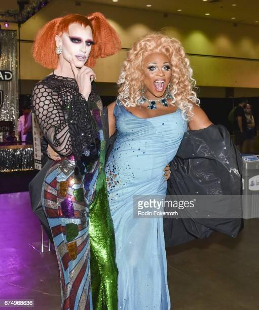 RuPaul's Drag Race Season 6 alumni Milk and RuPaul's Drag Race Season 9 alumni Pepperment pose for portrait at 3rd annual RuPaul's DragCon at Los...