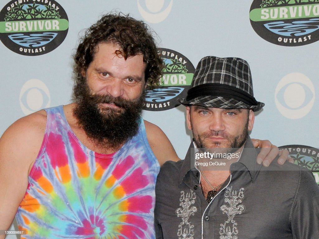 Rupert Boneham and Russell Hantz arrive at Survivor 10 Year Anniversary Party at CBS Television City on January 9, 2010 in Los Angeles, California.