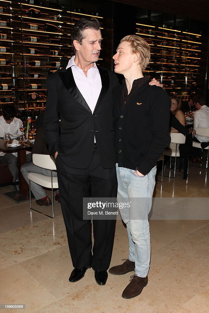 Rupert Everett and Freddie Fox attend an after party dinner for the press night of'The Judas Kiss' at Cucina Asellina on January 22, 2013 in London, England.