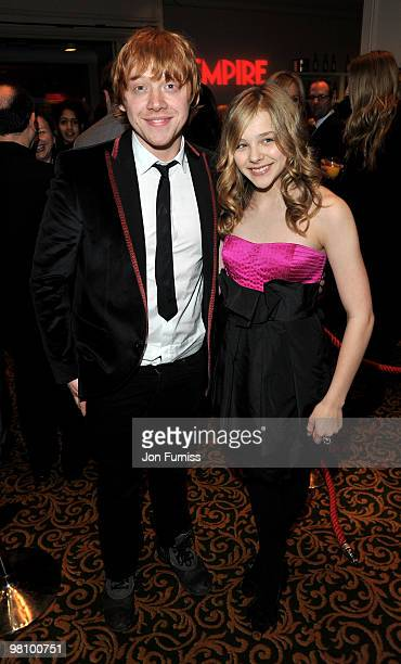 Rupert Grint and Chloe Moretz attend the Jameson Empire Film Awards at The Grosvenor House Hotel on March 28 2010 in London England
