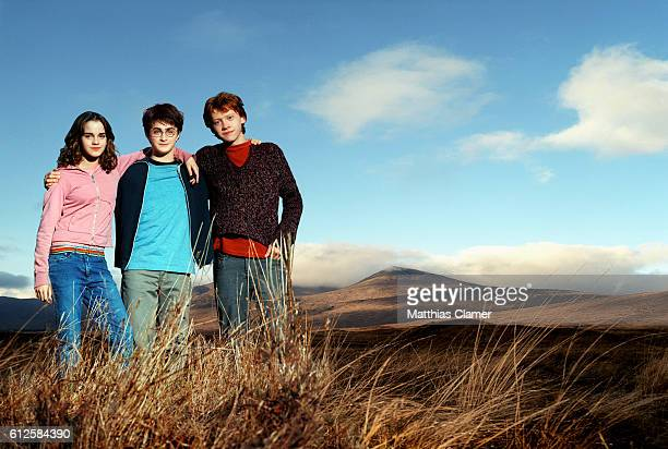 Rupert Grint as Ron Weasley Daniel Radcliffe as Harry Potter and Emma Watson as Hermione Granger in the film Harry Potter and the Prisoner of Azkaban...