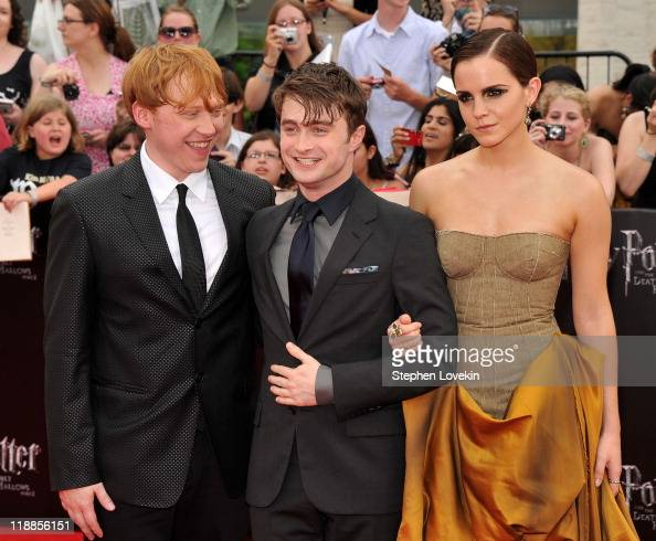 Rupert Grint Daniel Radcliffe and Emma Watson attend the New York premiere of 'Harry Potter And The Deathly Hallows Part 2' at Avery Fisher Hall...