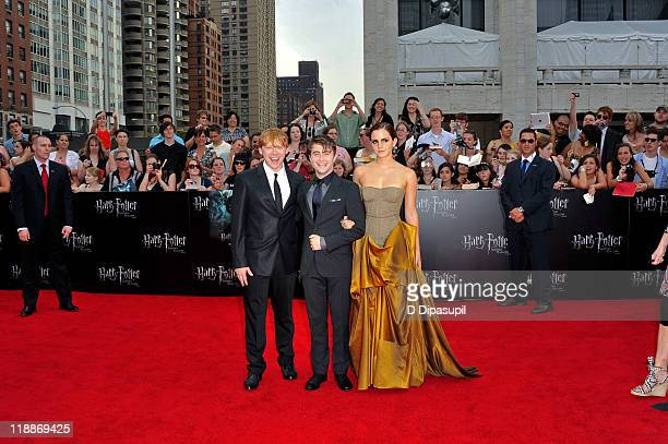 Rupert Grint Daniel Radcliffe and Emma Watson attend the premiere of 'Harry Potter and the Deathly Hallows Part 2' at Avery Fisher Hall Lincoln...