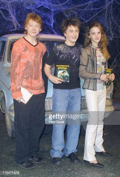 Rupert Grint Daniel Radcliffe and Emma Watson during 'Harry Potter and the Chamber of Secrets' DVD Launch at Leavesden Studios in Hertfordshire Great...