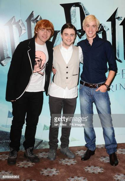 Rupert Grint Daniel Radcliffe and Tom Felton are seen at a photocall to launch new film Harry Potter and the HalfBlood Prince at Claridges Hotel in...