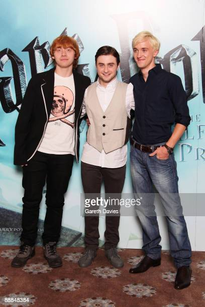 OUT** Rupert Grint Daniel Radcliffe and Tom Felton attend a photocall for Harry Potter and the HalfBlood Prince held at Claridges Hotel on July 6...