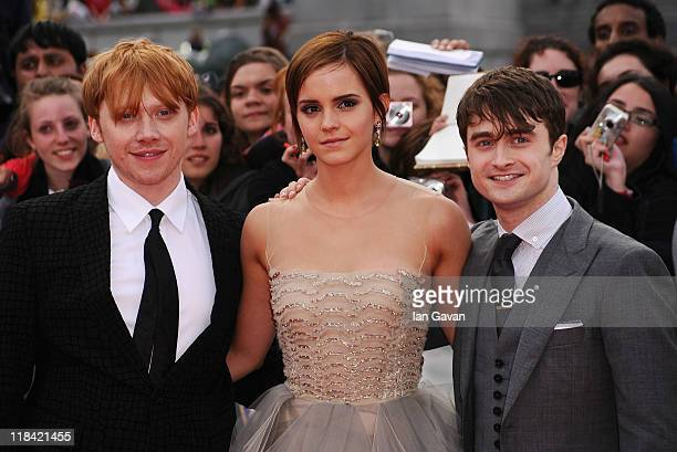 Rupert Grint Emma Watson and Daniel Radcliffe attend the World Premiere of Harry Potter and The Deathly Hallows Part 2 at Trafalgar Square on July 7...