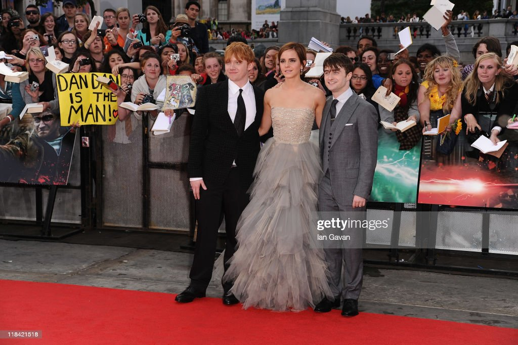 Rupert Grint, Emma Watson and Daniel Radcliffe attend the World Premiere of Harry Potter and The Deathly Hallows - Part 2 at Trafalgar Square on July 7, 2011 in London, England.