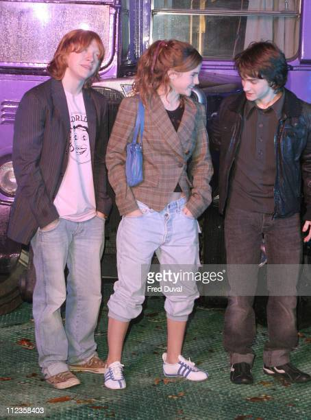 Rupert Grint Emma Watson and Daniel Radcliffe during 'Harry Potter and the Prisoner of Azkaban' DVD Launch at Middle Temple Lane in London United...