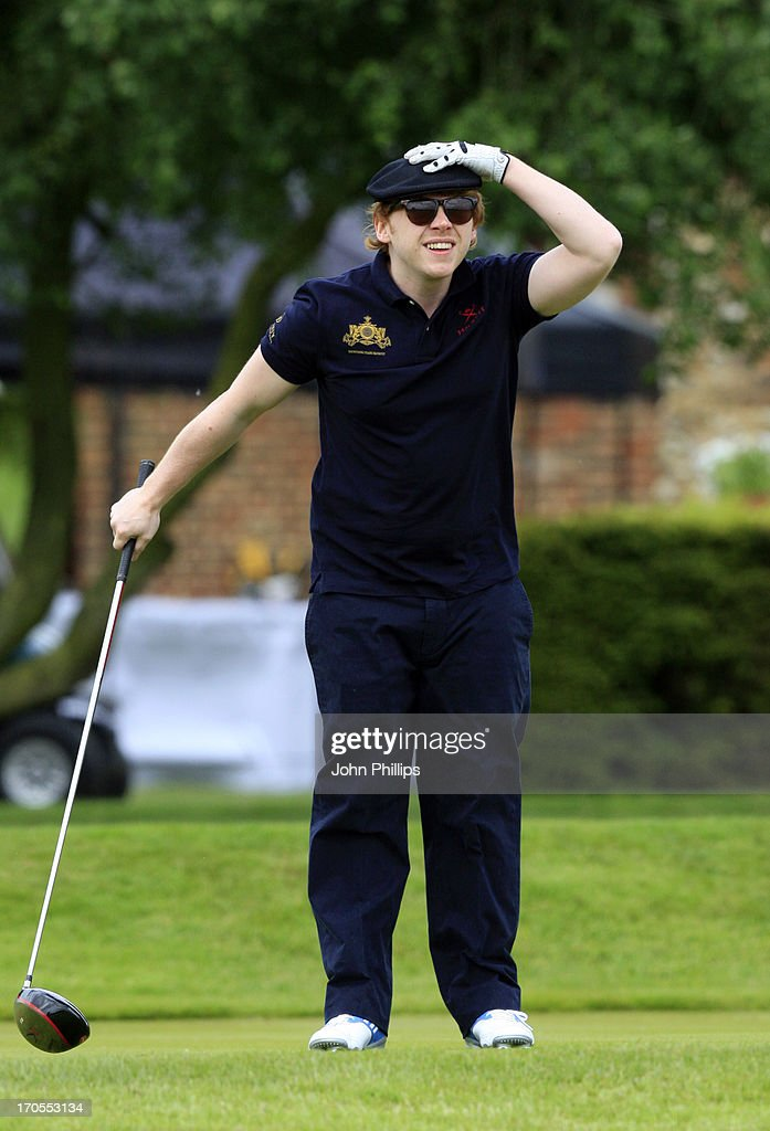 <a gi-track='captionPersonalityLinkClicked' href=/galleries/search?phrase=Rupert+Grint&family=editorial&specificpeople=206605 ng-click='$event.stopPropagation()'>Rupert Grint</a> looks on during the Affinity Real Estate Shooting Stars First Round at The Grove Hotel on June 14, 2013 in Hertford, England.