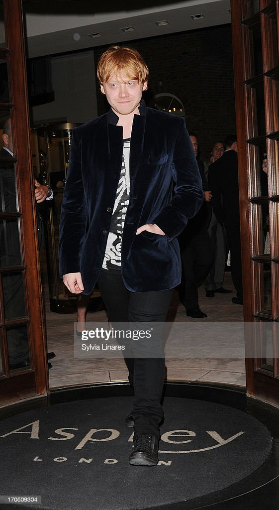 <a gi-track='captionPersonalityLinkClicked' href=/galleries/search?phrase=Rupert+Grint&family=editorial&specificpeople=206605 ng-click='$event.stopPropagation()'>Rupert Grint</a> seen leaving Asprey Store on June 13, 2013 in London, England.