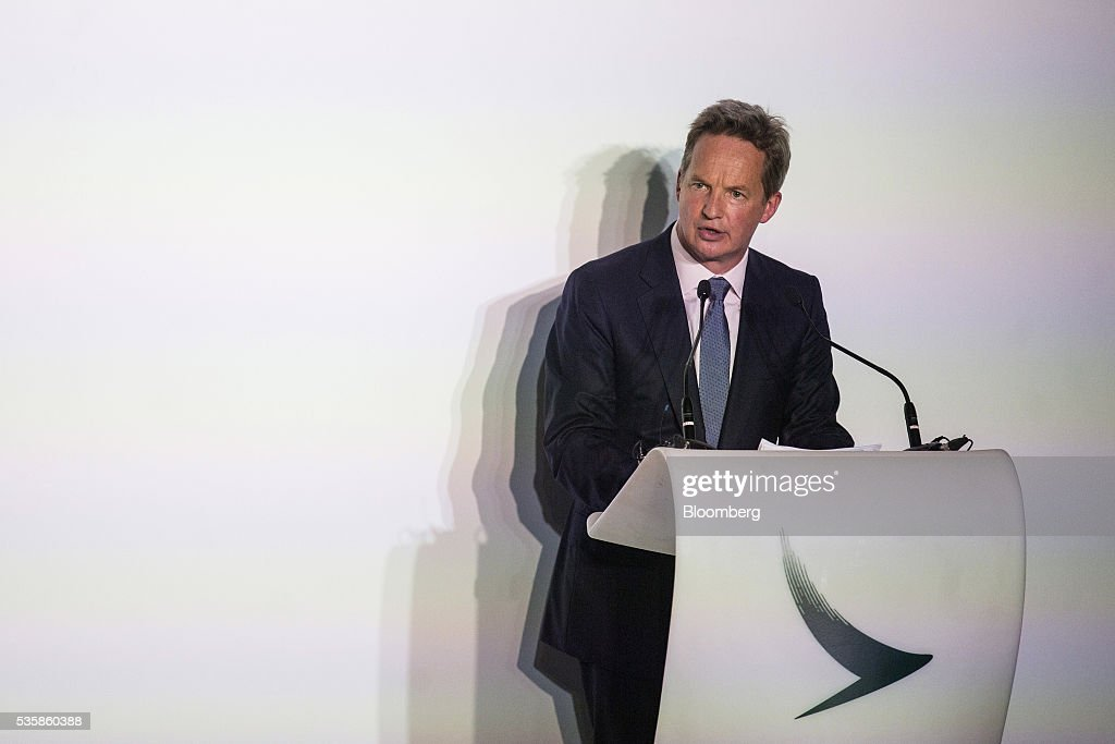 Rupert Hogg, chief operating officer of Cathay Pacific Airways Ltd., speaks during a launch ceremony for the company's first Airbus Group SE A350-900 aircraft in Hong Kong, China, on Monday, May 30, 2016. Airbus stuck to plans to increase plane deliveries this year as it pushes to overcome a series of problems affecting production of its newest aircraft. Photographer: Justin Chin/Bloomberg via Getty Images