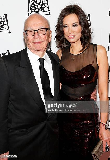 Rupert Murdoch and his wife Wendi Deng Murdoch attend the 20th Century Fox And Fox Searchlight Pictures' Academy Award Nominees Celebration at Lure...