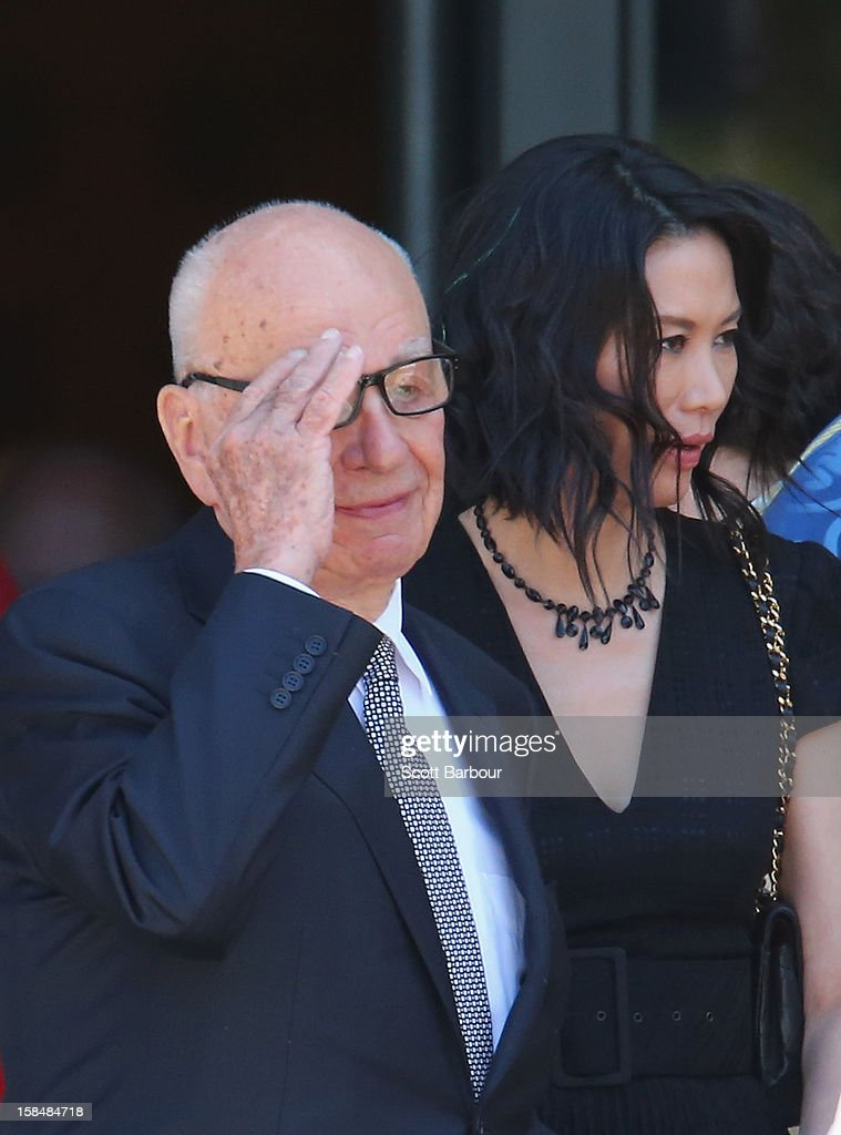 <a gi-track='captionPersonalityLinkClicked' href=/galleries/search?phrase=Rupert+Murdoch&family=editorial&specificpeople=160571 ng-click='$event.stopPropagation()'>Rupert Murdoch</a> and his wife <a gi-track='captionPersonalityLinkClicked' href=/galleries/search?phrase=Wendi+Deng&family=editorial&specificpeople=742624 ng-click='$event.stopPropagation()'>Wendi Deng</a> Murdoch leave after attending the Dame Elisabeth Murdoch public memorial at St Paul's Cathedral on December 18, 2012 in Melbourne, Australia. Dame Murdoch passed away on December 5th, aged 103.