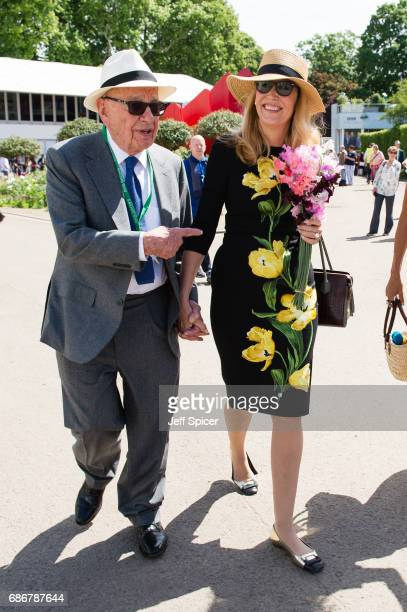 Rupert Murdoch and Jerry Hall attend RHS Chelsea Flower Show press day at Royal Hospital Chelsea on May 22 2017 in London England