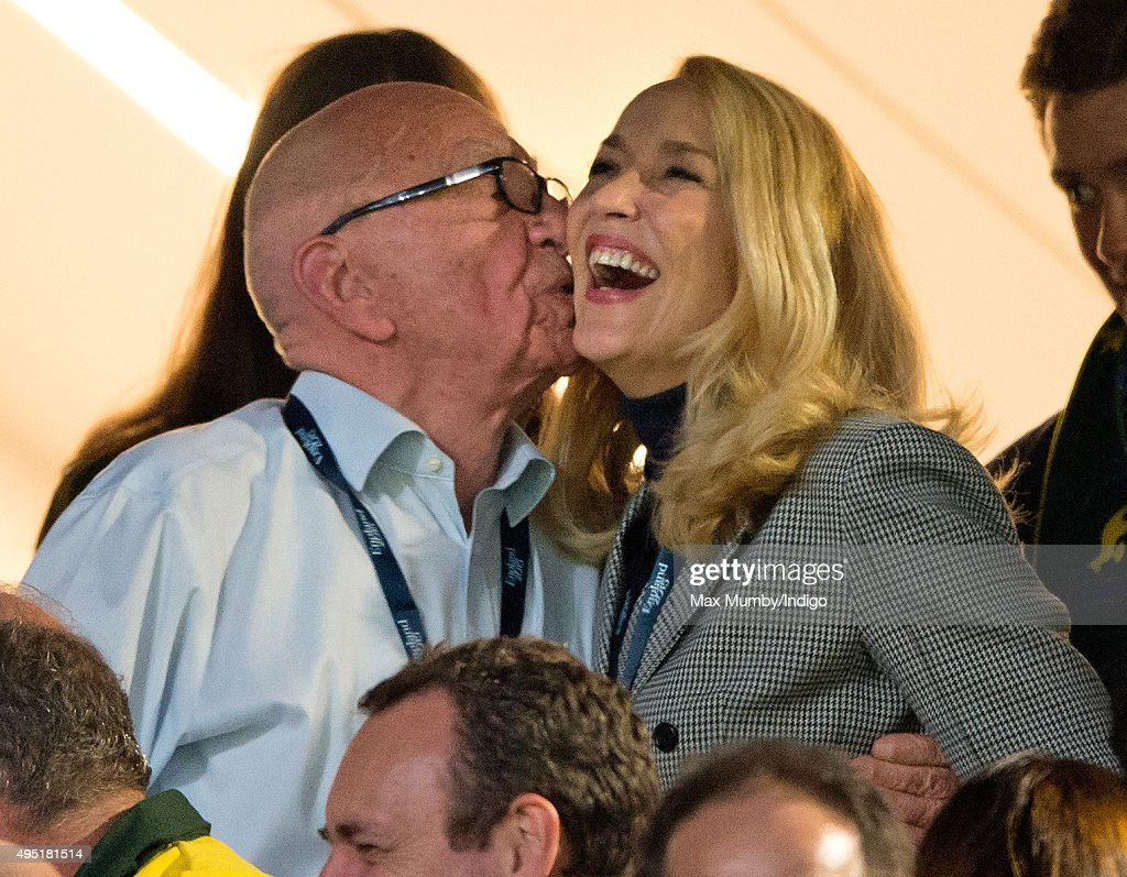 <a gi-track='captionPersonalityLinkClicked' href=/galleries/search?phrase=Rupert+Murdoch&family=editorial&specificpeople=160571 ng-click='$event.stopPropagation()'>Rupert Murdoch</a> and <a gi-track='captionPersonalityLinkClicked' href=/galleries/search?phrase=Jerry+Hall&family=editorial&specificpeople=171120 ng-click='$event.stopPropagation()'>Jerry Hall</a> attend the 2015 Rugby World Cup Final match between New Zealand and Australia at Twickenham Stadium on October 31, 2015 in London, England.