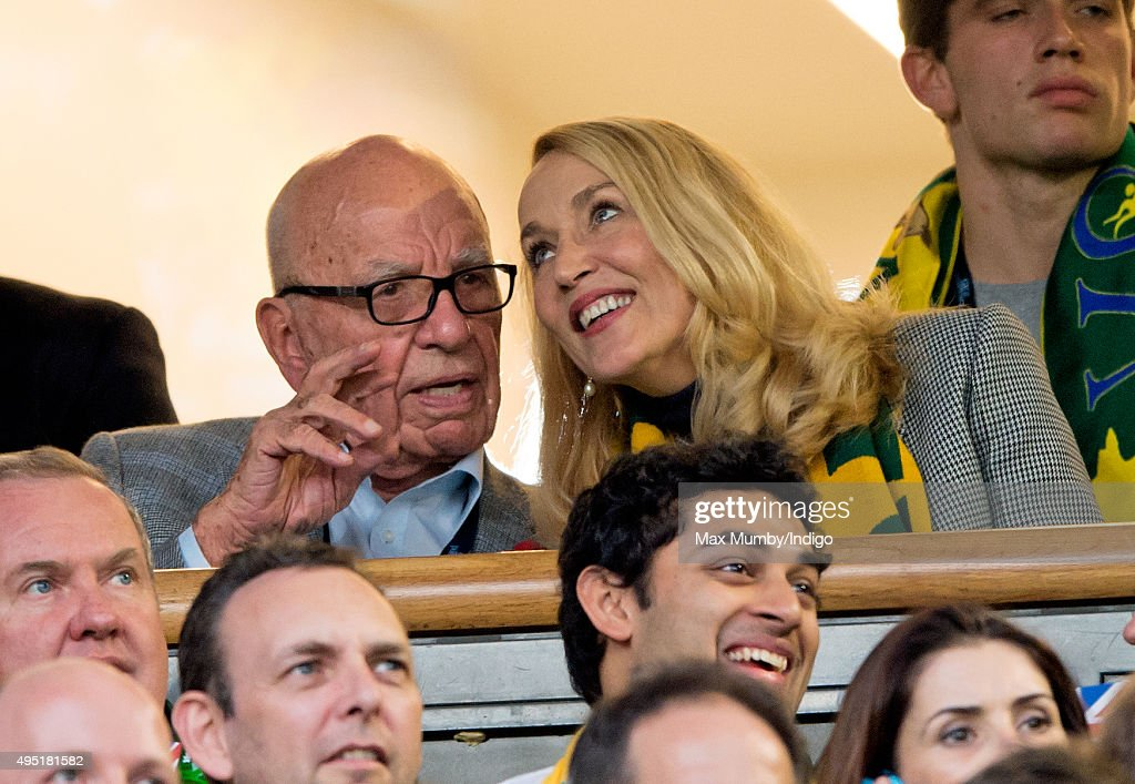 Rupert Murdoch and Jerry Hall attend the 2015 Rugby World Cup Final match between New Zealand and Australia at Twickenham Stadium on October 31, 2015 in London, England.