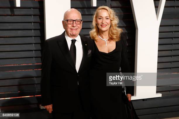 Rupert Murdoch and Jerry Hall attend the 2017 Vanity Fair Oscar Party at Wallis Annenberg Center for the Performing Arts on February 26 2017 in...