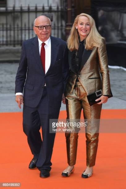 Rupert Murdoch and Jerry Hall attend the preview party for the Royal Academy Summer Exhibition at Royal Academy of Arts on June 7 2017 in London...