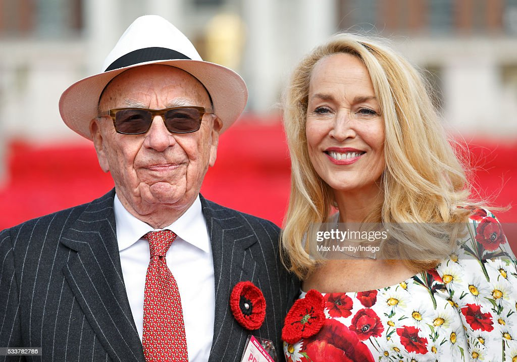Rupert Murdoch and Jerry Hall attend the RHS Chelsea Flower Show press day at the Royal Hospital Chelsea on May 23, 2016 in London, England.