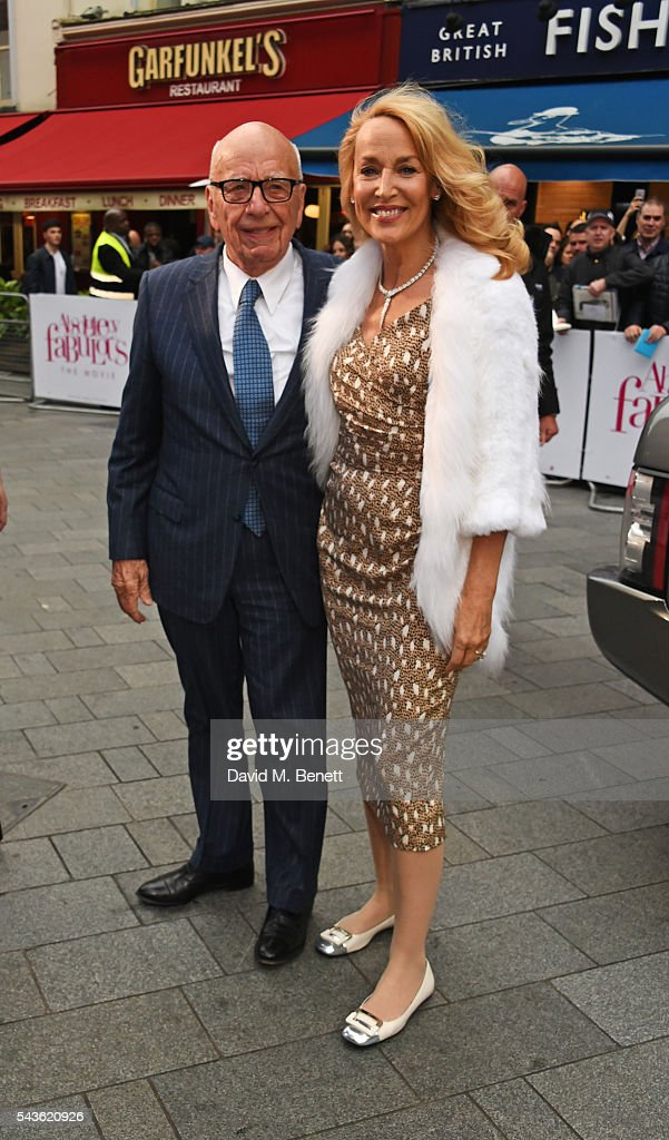 Rupert Murdoch (L) and Jerry Hall attend the World Premiere of 'Absolutely Fabulous: The Movie' at Odeon Leicester Square on June 29, 2016 in London, England.