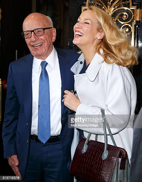 Rupert Murdoch and Jerry Hall leave Scott's restaurant following their marriage at Spencer House on March 4 2016 in London England