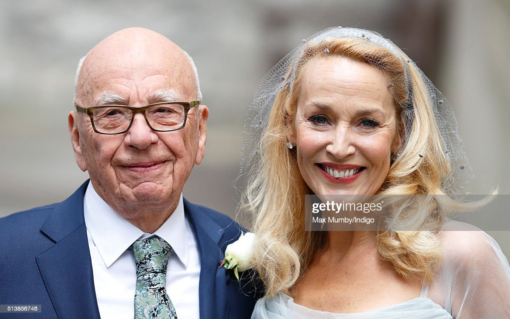 <a gi-track='captionPersonalityLinkClicked' href=/galleries/search?phrase=Rupert+Murdoch&family=editorial&specificpeople=160571 ng-click='$event.stopPropagation()'>Rupert Murdoch</a> and <a gi-track='captionPersonalityLinkClicked' href=/galleries/search?phrase=Jerry+Hall&family=editorial&specificpeople=171120 ng-click='$event.stopPropagation()'>Jerry Hall</a> leave St Bride's Church after their wedding on March 5, 2016 in London, England.