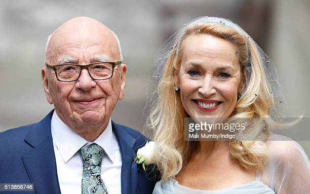 Rupert Murdoch and Jerry Hall leave St Bride's Church after their wedding on March 5 2016 in London England