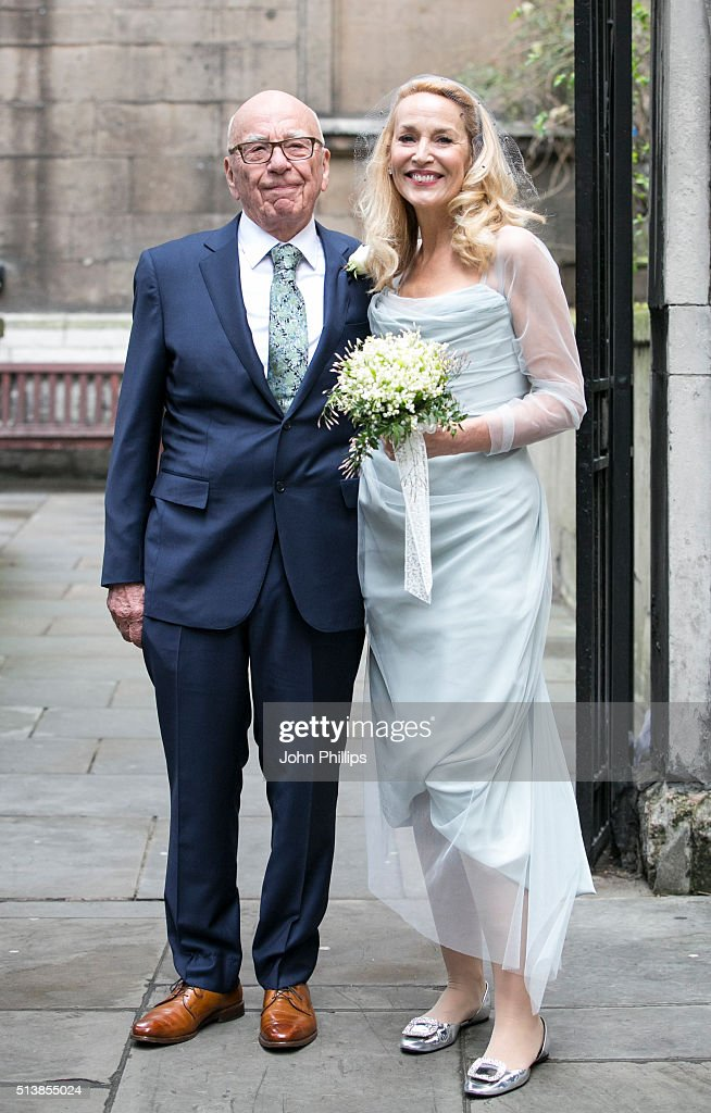 Rupert Murdoch and Jerry Hall seen leaving St Brides Church after their wedding on March 5 2016 in London England