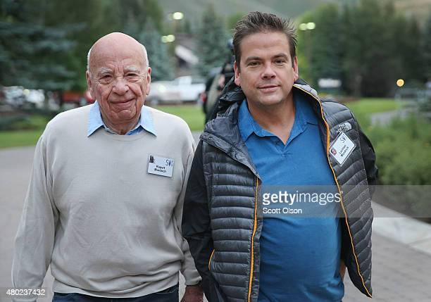 Rupert Murdoch and Lachlan Murdoch coexecutive chairmen of 21st Century Fox attend the Allen Company Sun Valley Conference on July 10 2015 in Sun...