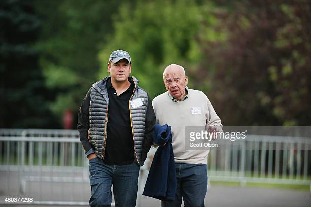 Rupert Murdoch and Lachlan Murdoch coexecutive chairmen of 21st Century Fox attend the Allen Company Sun Valley Conference on July 11 2015 in Sun...