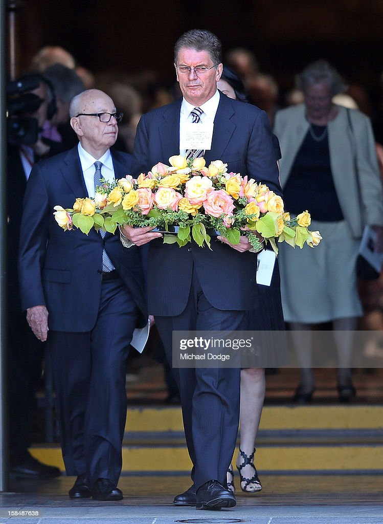 <a gi-track='captionPersonalityLinkClicked' href=/galleries/search?phrase=Rupert+Murdoch&family=editorial&specificpeople=160571 ng-click='$event.stopPropagation()'>Rupert Murdoch</a> (L) and the Premier of Victoria Ted Baillieu leave the Dame Elisabeth Murdoch public memorial at St Paul's Cathedral on December 18, 2012 in Melbourne, Australia. Dame Murdoch passed away on December 5th, aged 103.
