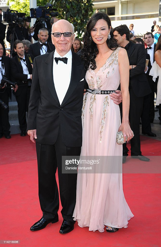 Rupert Murdoch and Wendi Deng Murdoch attend 'The Tree Of Life' Premiere during the 64th Annual Cannes Film Festival at Palais des Festivals on May 16, 2011 in Cannes, France.