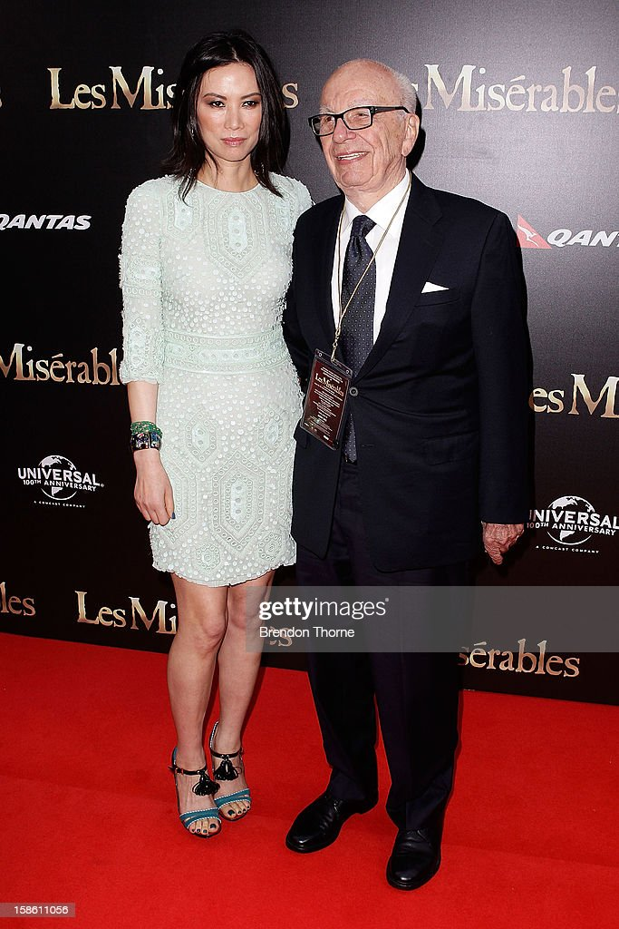 Rupert Murdoch and Wendy Deng walk the red carpet during the Australian premiere of 'Les Miserables' at the State Theatre on December 21, 2012 in Sydney, Australia.