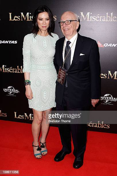 Rupert Murdoch and Wendy Deng walk the red carpet during the Australian premiere of 'Les Miserables' at the State Theatre on December 21 2012 in...