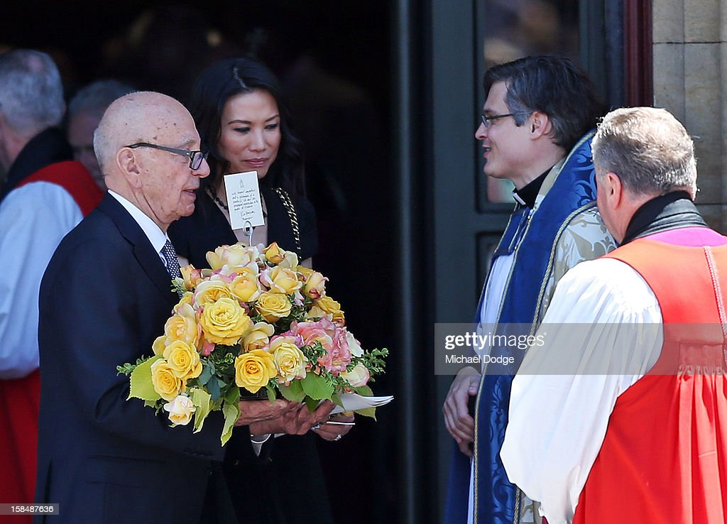 <a gi-track='captionPersonalityLinkClicked' href=/galleries/search?phrase=Rupert+Murdoch&family=editorial&specificpeople=160571 ng-click='$event.stopPropagation()'>Rupert Murdoch</a> and wife <a gi-track='captionPersonalityLinkClicked' href=/galleries/search?phrase=Wendi+Deng&family=editorial&specificpeople=742624 ng-click='$event.stopPropagation()'>Wendi Deng</a> leave the Dame Elisabeth Murdoch public memorial at St Paul's Cathedral on December 18, 2012 in Melbourne, Australia. Dame Murdoch passed away on December 5th, aged 103.