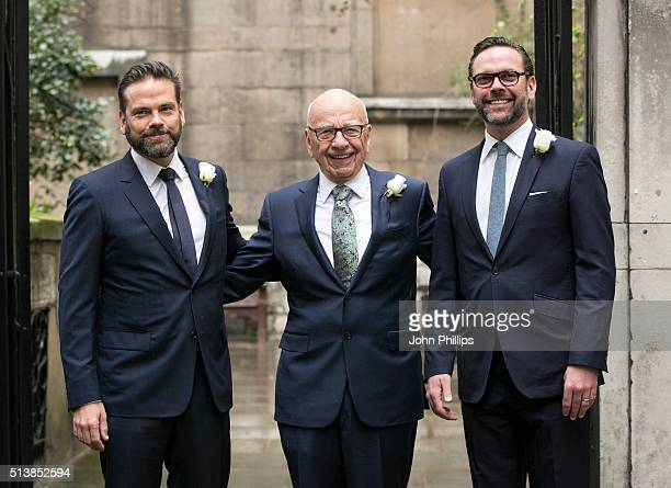 Rupert Murdoch arrives at St Bride's Church in London accompanied by his sons James and Lachlan for a ceremony of celebration a day after the media...