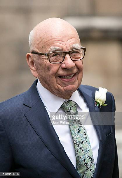 Rupert Murdoch arrives at St Brides Church on Fleet Street where he will marry Jerry Hall on March 5 2016 in London England