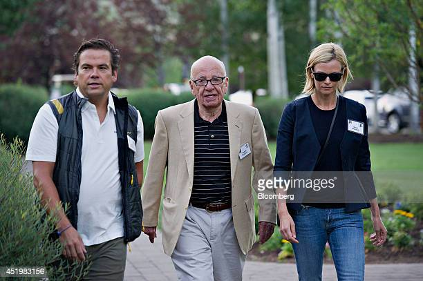 Rupert Murdoch chairman of News Corp center walks with Lachlan Murdoch News Corp board member left and Sarah Murdoch while arriving for a morning...